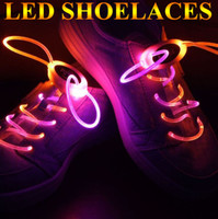 Wholesale 2012 NEW Flashing LED Shoelaces High Visibility Relective Shoestring Outdoor Biking Lighted Up