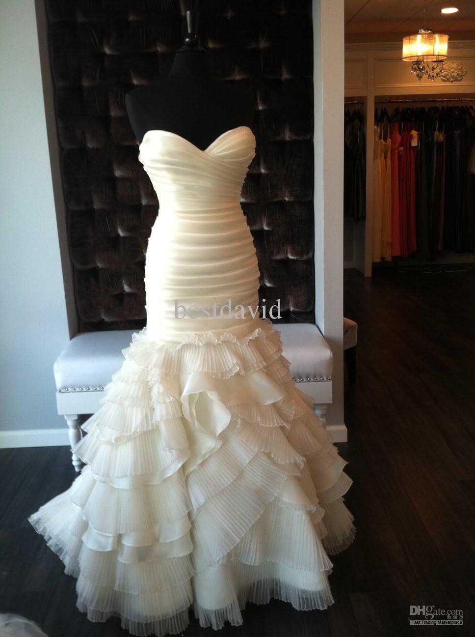 Cheap strapless ruffled organza mermaid wedding dress for Ruffled mermaid wedding dress