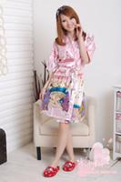 Wholesale Women s Sleepwear Silk sleepwear Sexy Short Sleeved Robe Dress Two piece Lingerie Home Service