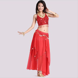 Wholesale Sexy Suit Dance Wear Belly Dance Perform Emboitement Chalaza Nets cloth Vest Chiffon Yarn Dress