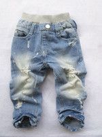 Wholesale Baby Kids Jeans New Japanese and Korean children children denim jeans straight jeans hole personality Childr Kids Clothing