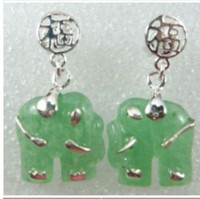 China-Tibet Women's Gift New jade elephant earrings