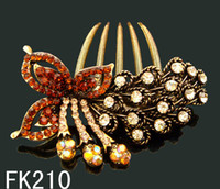 Wholesale Vintage Hair Jewelry Butterfly Zinc alloy rhinestone hair combs hair accessorie mixed color FK210