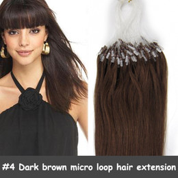 Wholesale 100S quot g micro loop ring hair extensions Dark brown brazilian human remy hair mix color HL069