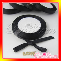 Wholesale 25 yard Black quot mm Satin Ribbon Gift Box Craft Bow Packaging Packing Wedding Party Favor