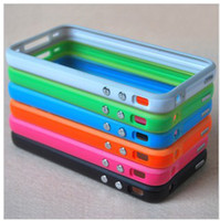 Wholesale Bumper Frame Cover Case TPU Skin Case for iphone s with Metal Button Multi Color
