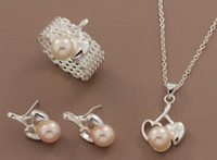 Wholesale 925 silver fashion Charm new Beautiful Elegant Bright pearl ring earring necklace best set Jewelry