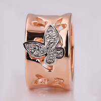 Wholesale 10pcs Hottest sale K Rose gold Butterfly Crystal rings Wedding ring Valentine s Day gift