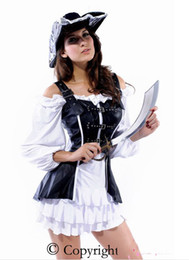 Wholesale Retail Pirate Maiden Sexy Costume includes Ruffled Dress Front Corset High Qualtiy
