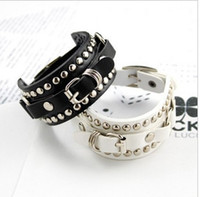 Unisex asian models fashion - 2016 New Fashion unisex men women lady models rivets belt buckle bracelet hand chain bangle