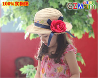 Girl flower bucket hats - NEW baby kids girls s girl topee bucket straw caps hats toddler girls boys cap hat Sun hat flowers