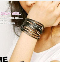 Wholesale New women lady colour Multi layer cortex metal ring width Bracelet hand chain bangle gift