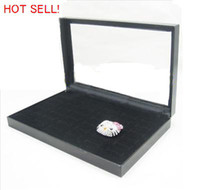 Wholesale Hot Sell Black Velvet Slot Display Box Case Holder for Rings Pillow B0X2026