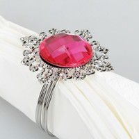 Wholesale Napkin Ring For Wedding Rose Red Gem