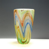 Wholesale Delicate Glass Art Bright Colorful Painted Vases Blown Glass Tabletop Art Decoration