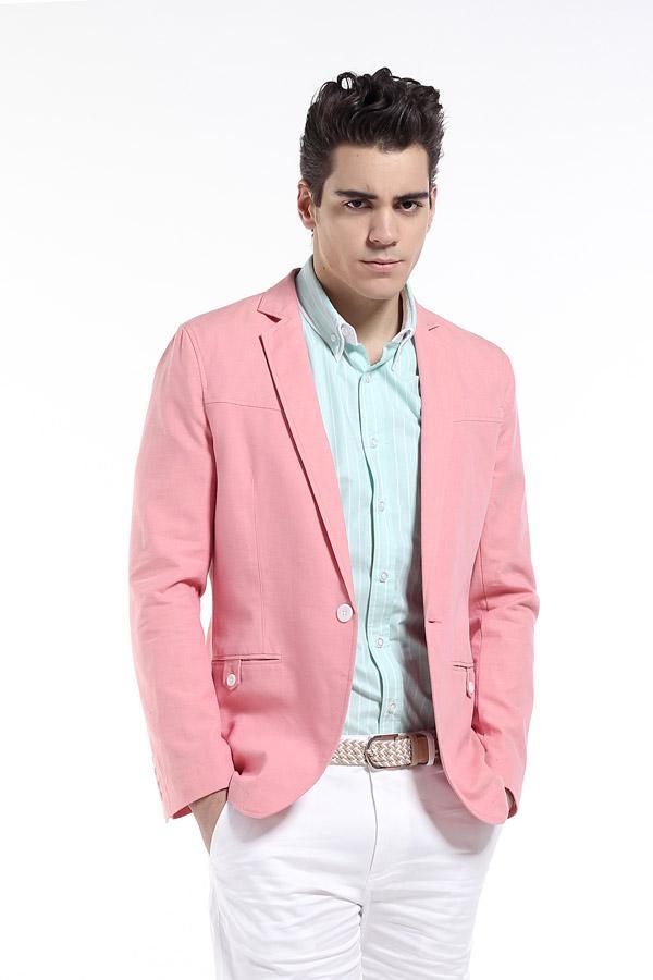 Pink Mens Suit Jacket Dress Yy