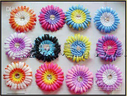 Wholesale New design double color daisies Gerber baby hair bows Children s clip girl flowers Orange h