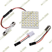 12V Dome Light T10 20pcs E07 T10 BA9S 36 SMD LED Festoon Interior Light Dome Bulb Adapter Lamp White Car 12V