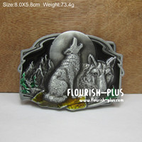 Wholesale Zinc alloy wolf belt buckle animal belt buckle jeans belt buckle with pewter plating