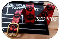 Wholesale ISSOKIDS Children belt PU Crack skull design red belt fashion accessories