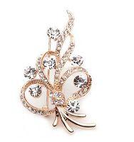 Wholesale jewelry ladies pin brooch flower Rhinestone crystal diamond pin brooch free ship zx