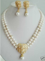 Wholesale 2row white pearl Jewellery necklace earring set