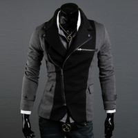 Men Stand Collar Long Sleeve ADS@-005 HOT! Fashion Slim Men's Jacket Lapel With Irregular Zipper Dark Grey+Black Jackets For Men