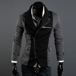 Wholesale ADS HOT Fashion Slim Men s Jacket Lapel With Irregular Zipper Dark Grey Black Jackets For Men
