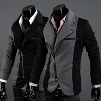 Men Middle_Length Cotton ADS@-005 HOT! Fashion Slim Men's Jacket Lapel With Irregular Zipper Dark Grey+Black Jackets For Men