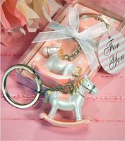 baby aspen - 10pcs Kate Aspen wedding party favor pink Rocking Horse Keychain Baby Birthday Shower Gifts