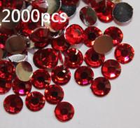 2000pcs 4.8mm Rojo posterior plana de acrílico gemas de los Rhinestones para Diseño de uñas gafas de sol de Scrapbooking