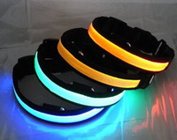 Nylon Collars red yellow blue green orange pink Best quality of led dog collar , led pet collar, dog collar mix colors and XS S M L XL size
