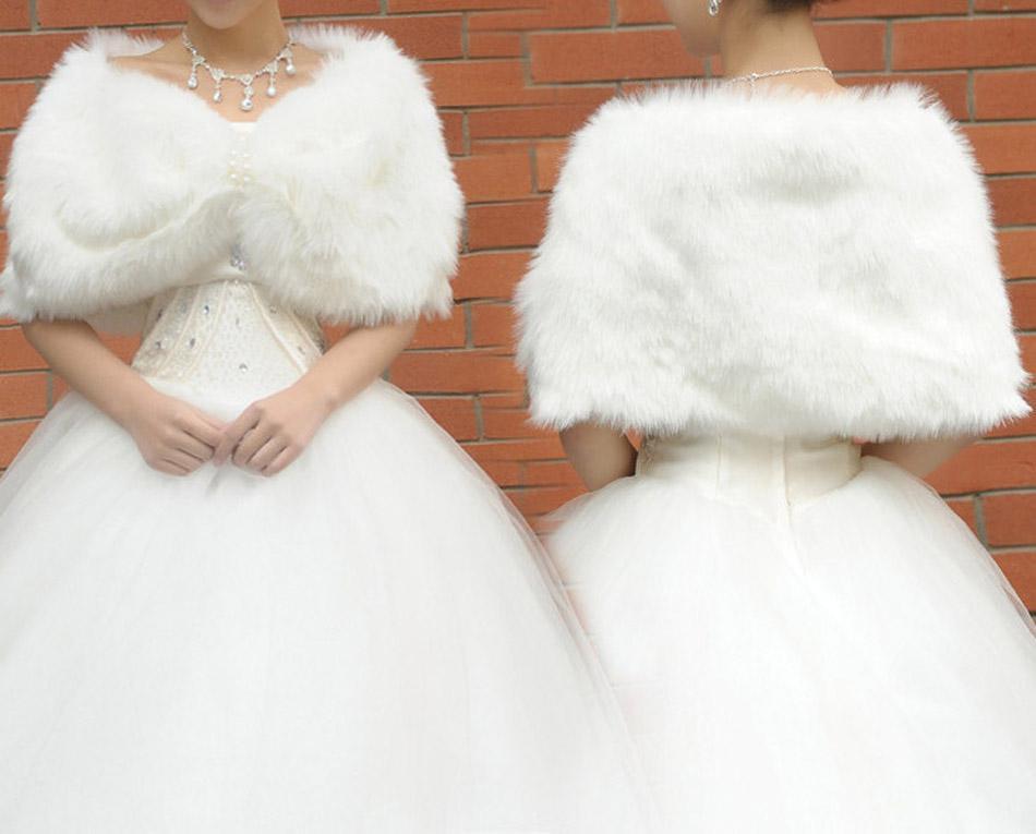 Online cheap ivory winter bridal wedding dress fur wrap for Fur shrug for wedding dress