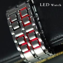 Wholesale Great Mens Black Lava Style Iron Samurai LED Metal Watch Men s Electronics Watches free ship