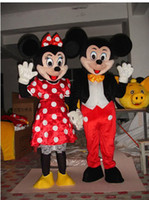 Wholesale New Mouse Couple minnie and mickey Mascot costume Adult Size Mouse Children kid gift toy free ship