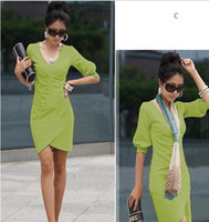 Wholesale Women Ladies Clothes Fashion Twill Pleats Skirts Sexy Half Sleeve Dresses Vogue Party Evening Dress