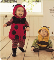 SIZE:80-90-95 baby beetle clothes - The spring and autumn and the bees lady beetles animal model clothing baby clothes conjoined twins