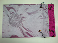 Wholesale Storage Lingerie Bags With Drawstring Two Layer Silk Embroidery Designs Mix Color Free