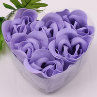 Wholesale 12 Boxes Purple Decorative Rose Bud Petal Soap Flower in Heart shaped Box Wedding Favors