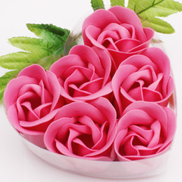 24 Boxes 6pcs Hot Pink Decorative Rose Bud Petal Soap Flower Wedding Favor in Heart-shaped Box