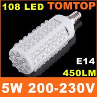 2PCS LOT 5W 108 LED E14 Corn Light Bulb Lighting 110V 220V L...