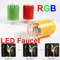 Wholesale LED Faucet Light Waterful Kitchen Bath Bathroom faucet color change RGB RED GREEN BLUE