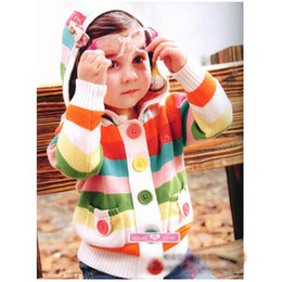 Wholesale Baby girls Sweater kids children hooded fringe cardigan Striped sweater coat Girls boys outwear B clp