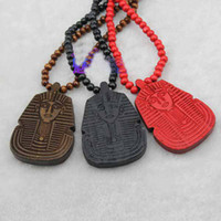 Unisex goodwood - Hip Hop good wood pendant Pharaoh Pattern necklace retail Fashion Jewelry black red Hot Goodwood New