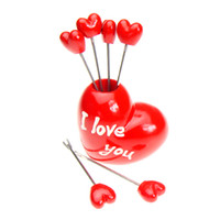 Wholesale Fork fruit fork Promotional Gifts Beautiful LOVEPot Fruit Fork Set Party Items sets a