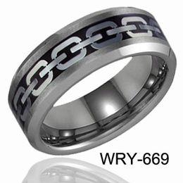 TUNGSTEN CARBIDE RINGS Gold&Silver Chain Inlaid Tungsten wedding bands
