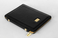 Wholesale Deiking DK Portable Zippered Leather Case Pouch Handbag for ipad ipad1 ipad2 Stand Holder