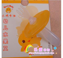 Wholesale Baby safety tableware K3044 chick Cady infant safety fruit fork is no longer dangerous