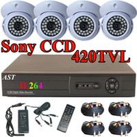 Wholesale 4 CH G HDD H DVR Sony CCD Dome Security Camera Home Surveilance system