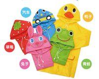 Wholesale 10 new LINDA Red Strawberry Children raincoat cute Kids Animal cape boy Girl waterpro